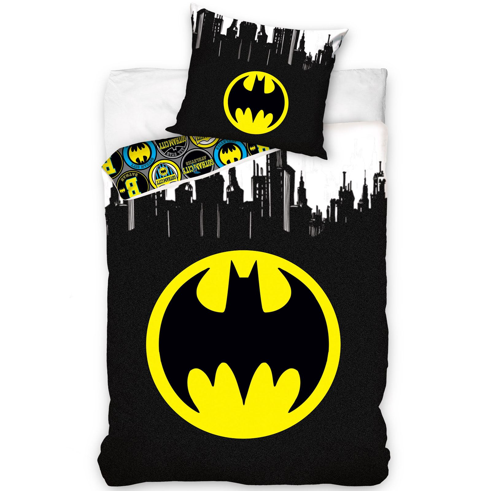 Batman Bettwäsche Details About Official Batman Logo Gotham Single Duvet Cover European Pillowcase