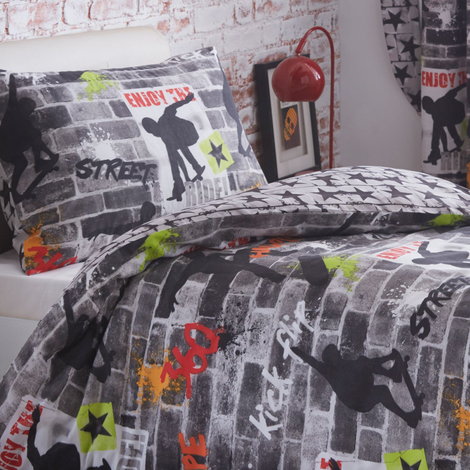 Boys Double Quilt Cover Details About Skateboard Tricks Double Duvet Cover Set Boys Teenager Reversible Bedding