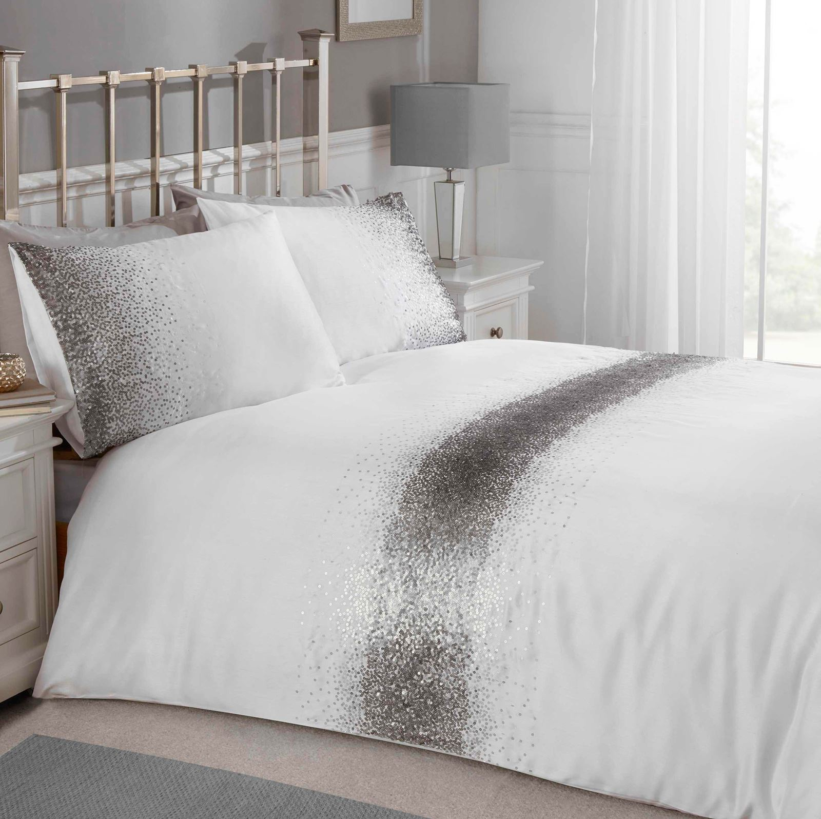 Silver Duvet Cover Details About Shimmer Sequin Double Duvet Cover Set White Silver Bedding Adults New