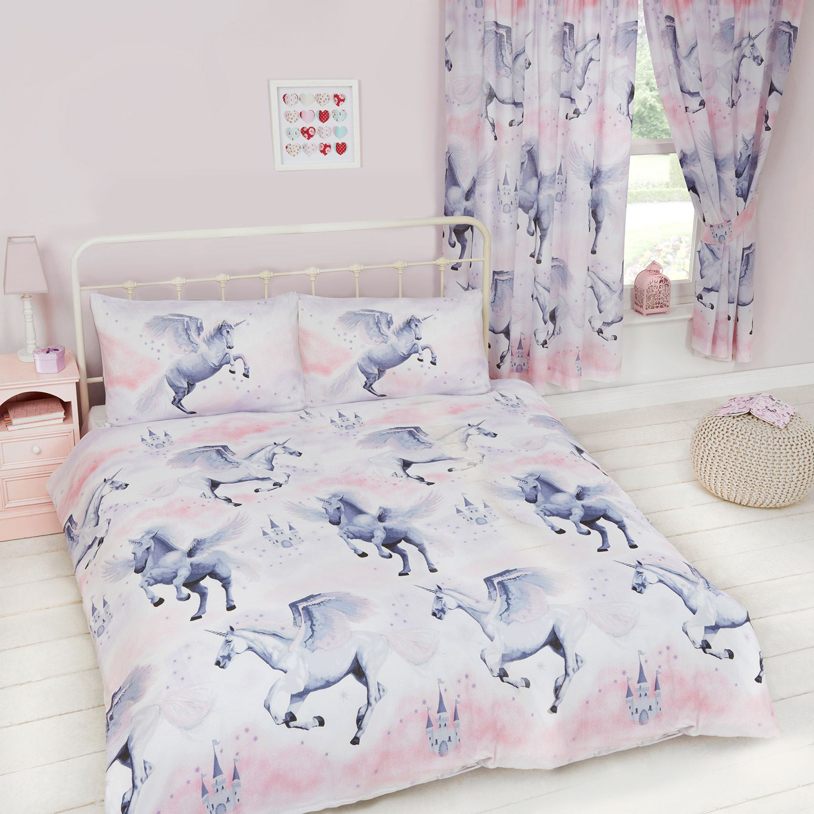 Double Doona Covers Stardust Unicorn Duvet Cover Sets And Matching Curtains