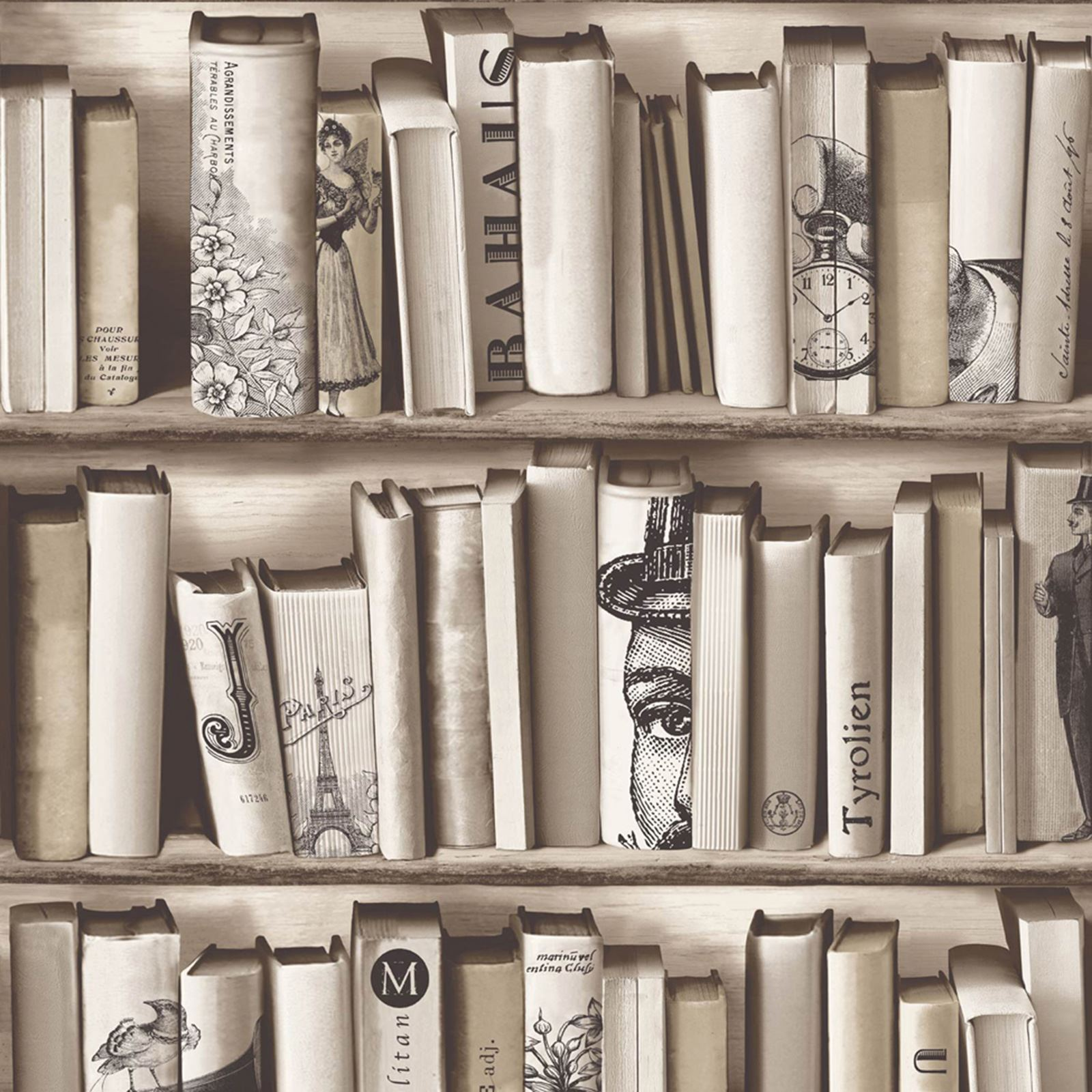 Bookcase Pattern Wallpaper White Natural Feature Wall