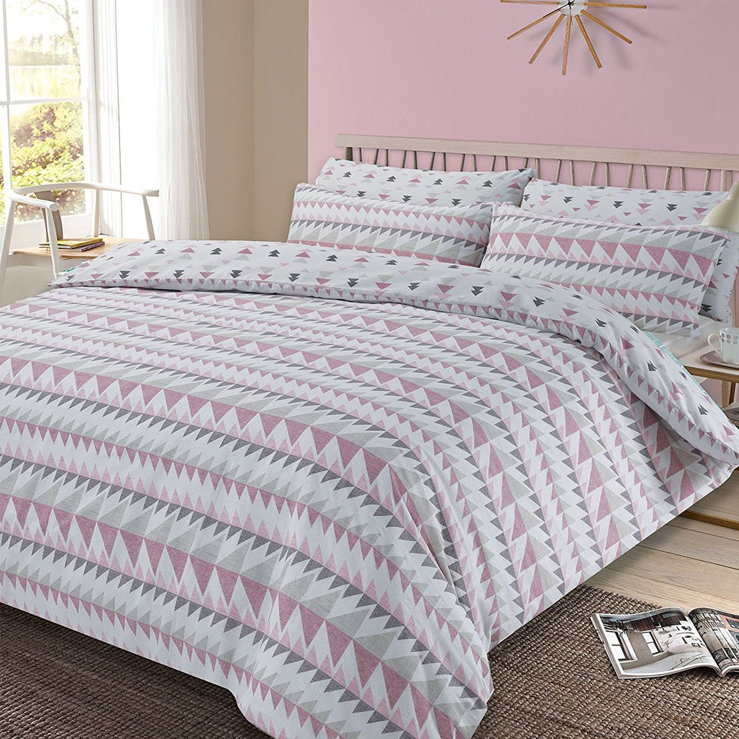 Blush Pink Quilt Cover Details About Rewind Geometric King Size Duvet Cover And Pillowcase Set Blush Pink New