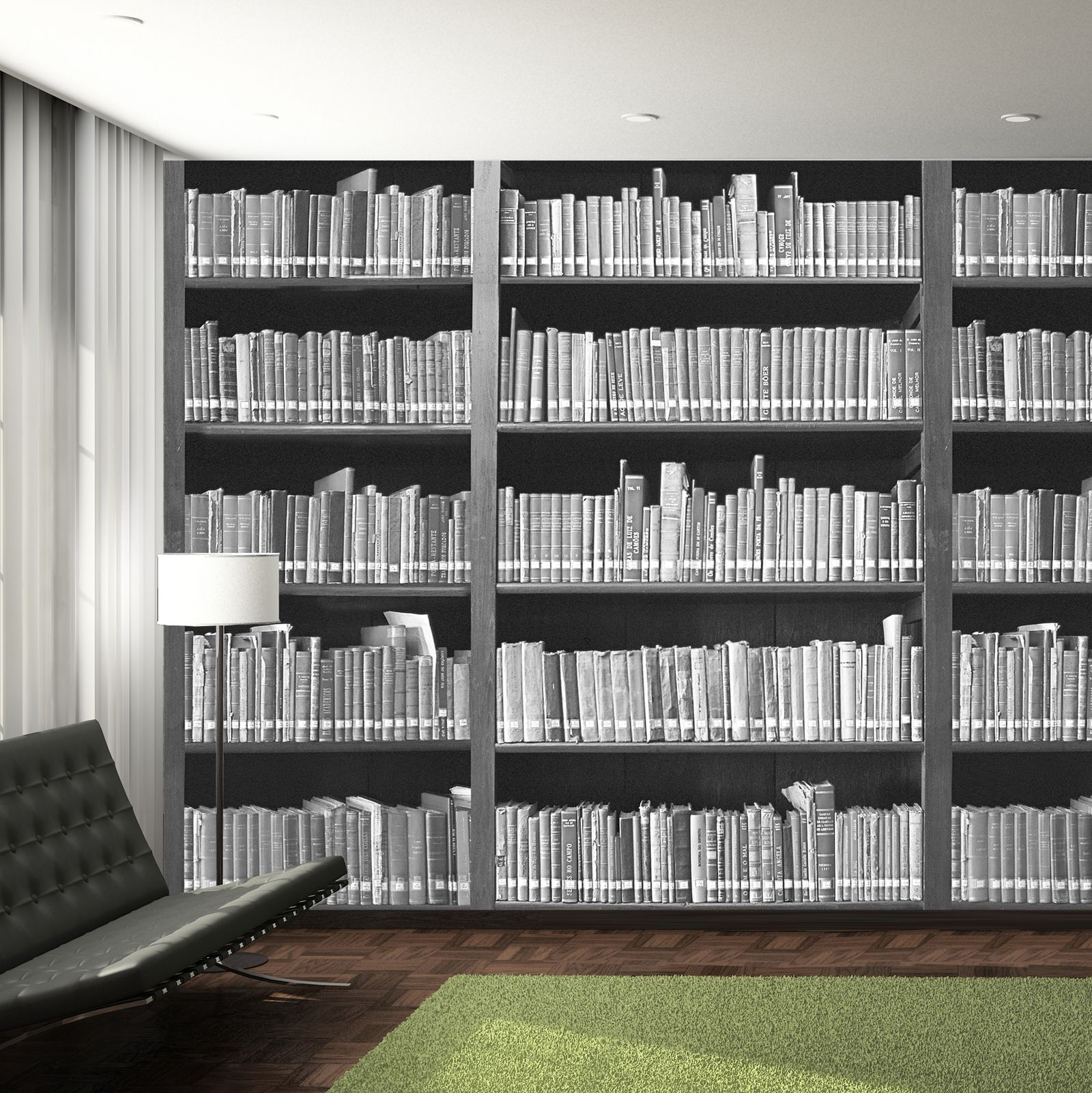 Déco Murale Diy Details About Bookshelf Library Grey Wallpaper Wall Mural 2 32cm X 315cm New