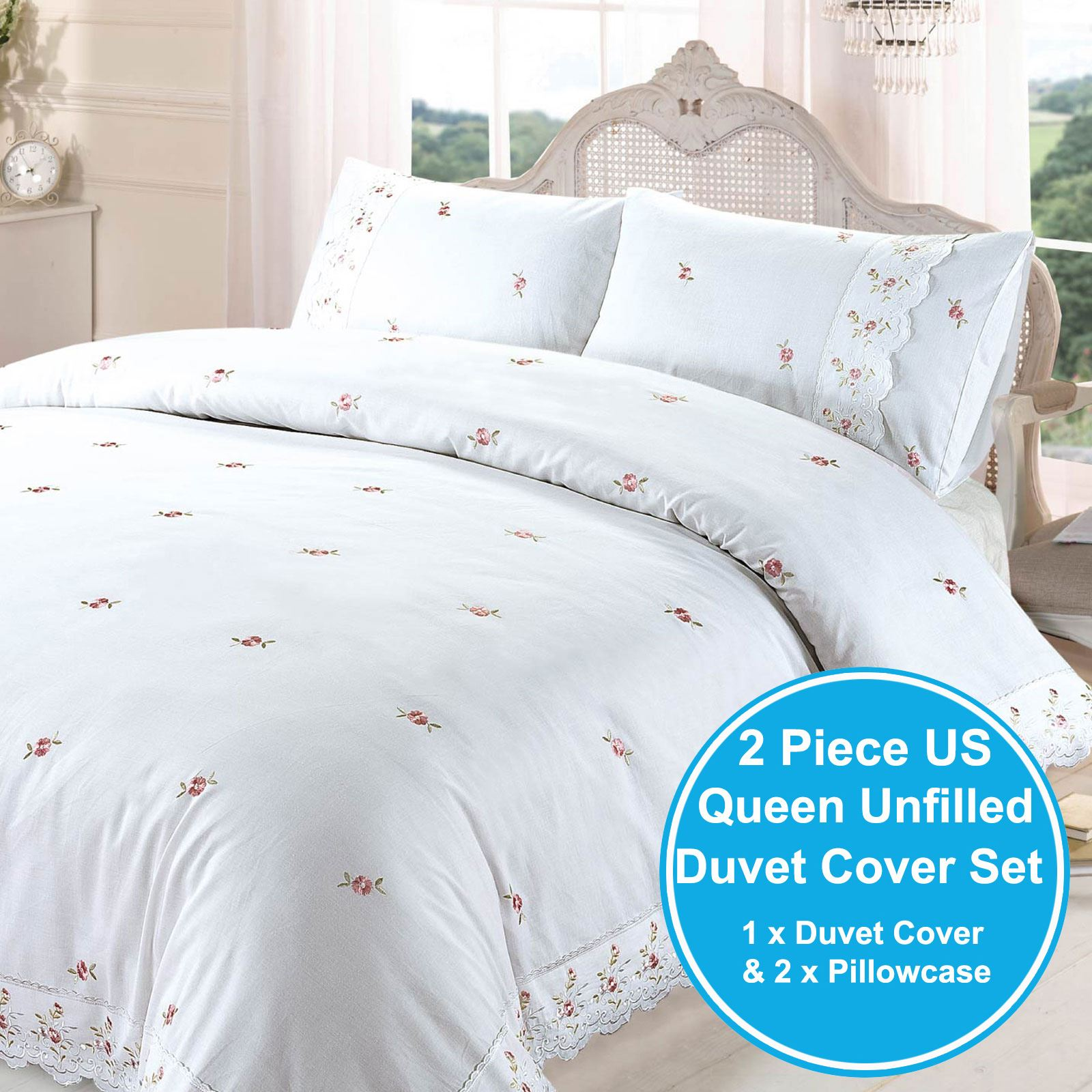 White Duvet Cover King Sophie Floral White King Size Duvet Cover Set Embroidered