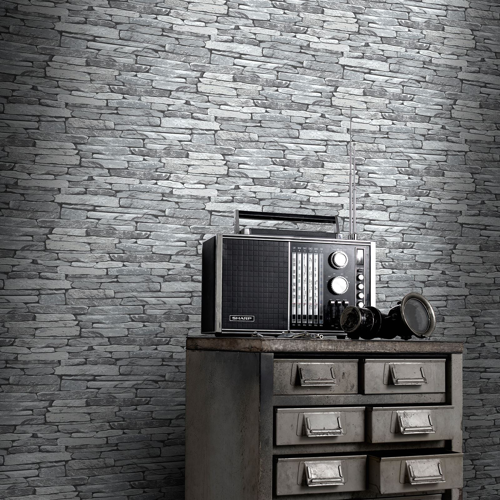 Baksteen Behang Wit Brick Slate And Wood Effect Wallpaper Rustic Red Silver
