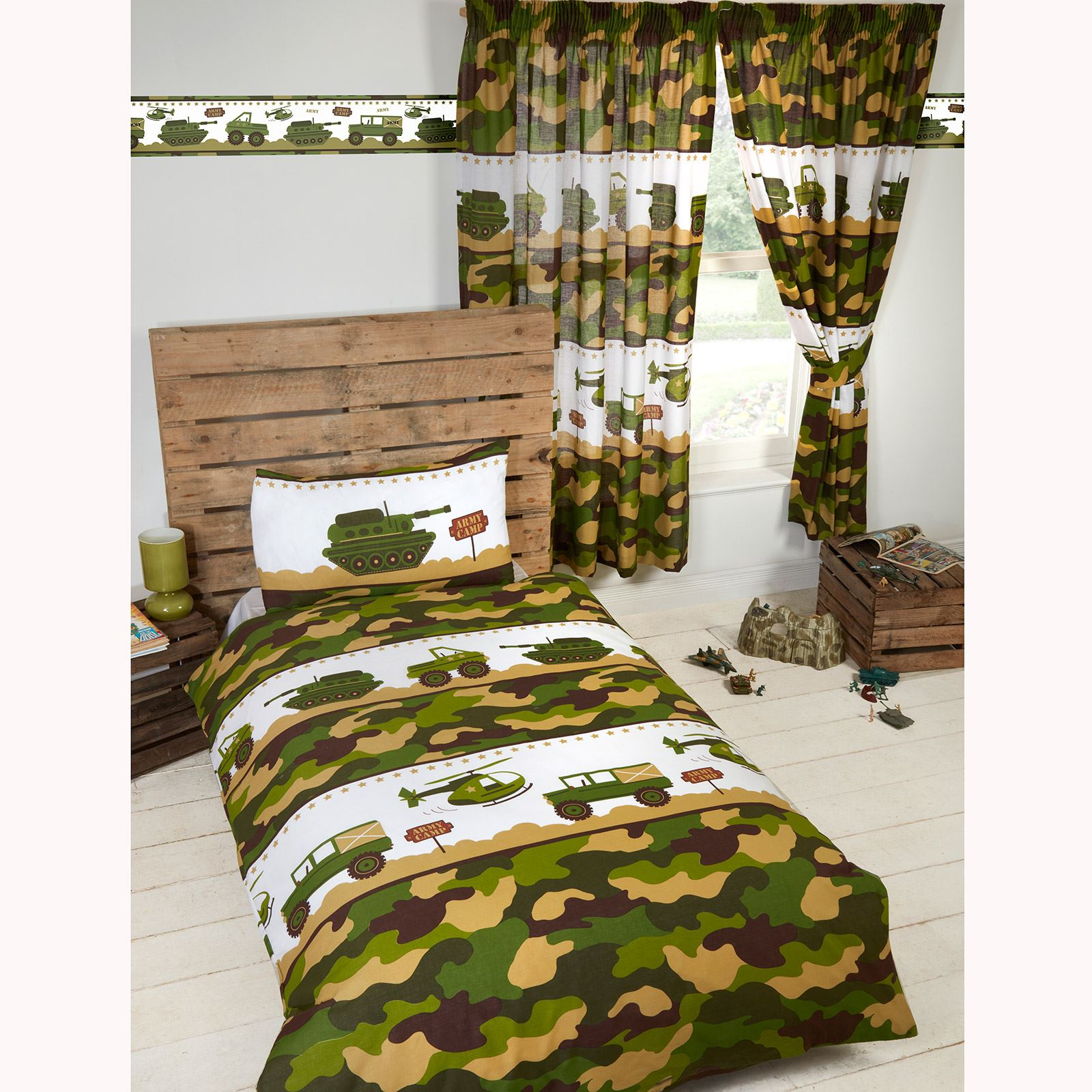 Camouflage Bettwäsche Army Camp Camo Junior Duvet Cover Set Matching 72