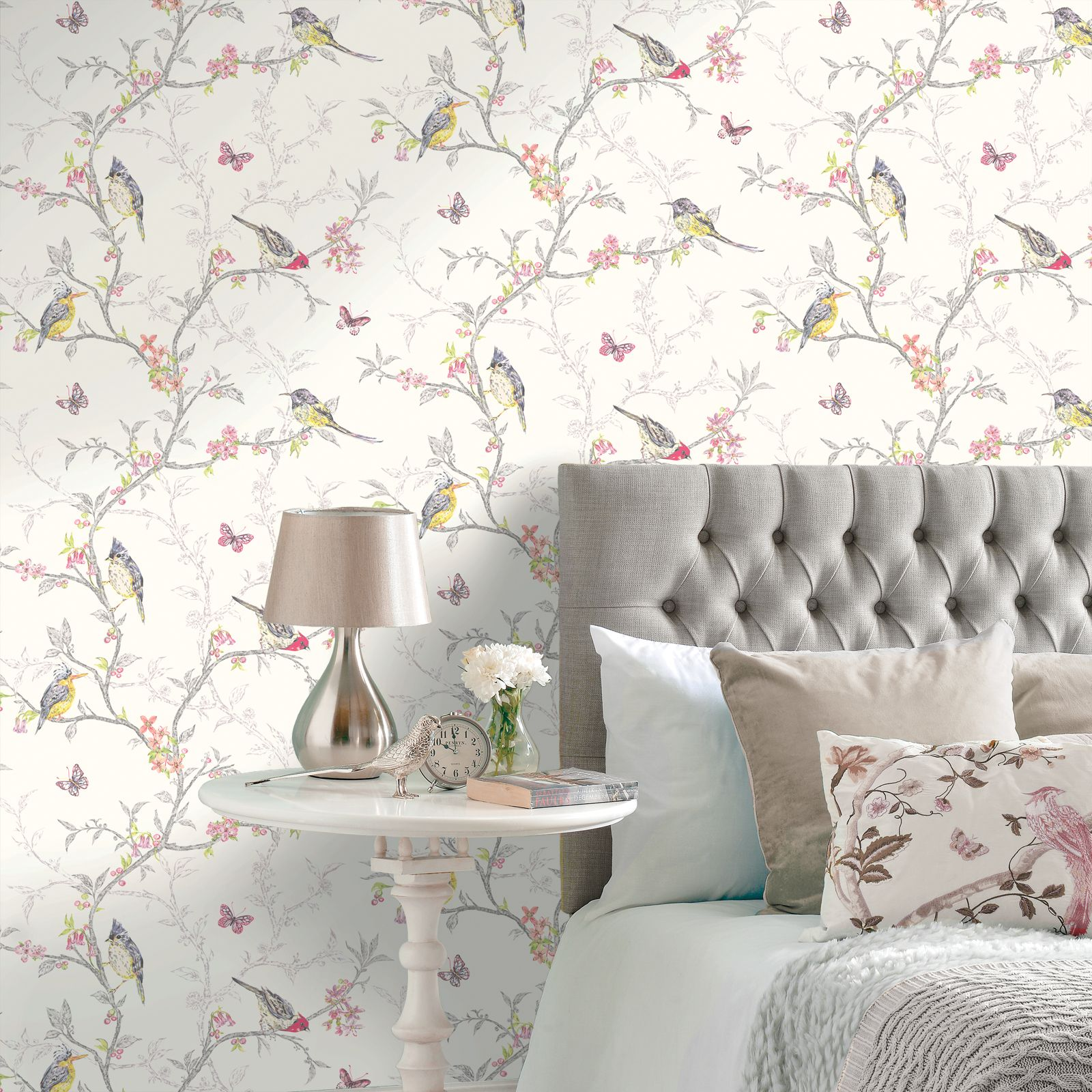 Carta Da Parati Shabby Chic On Line Shabby Chic Floral Wallpaper In Various Designs Wall Decor
