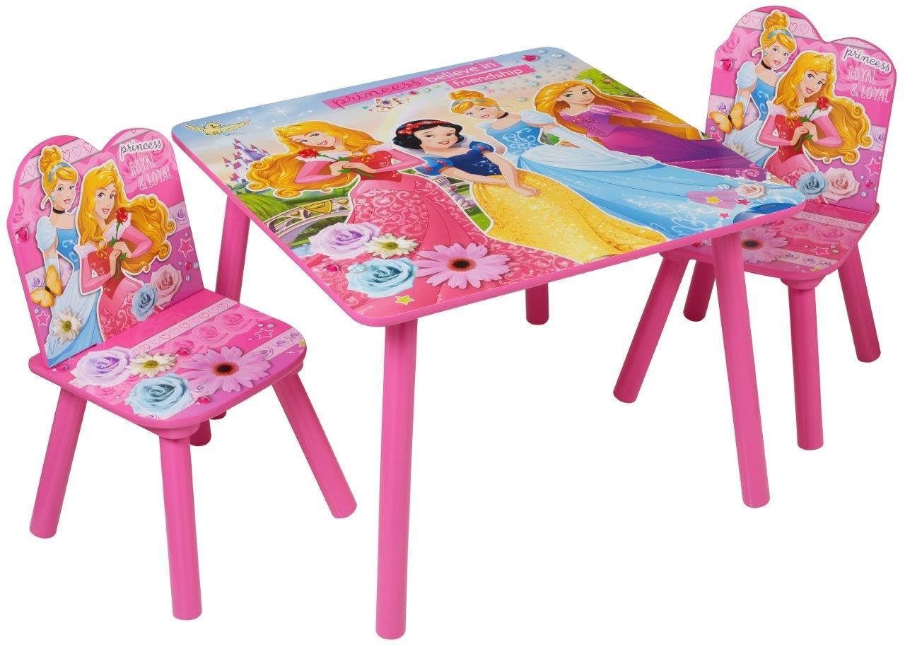 Disney Princess Childrens Wooden Table Two Chairs Wood Set