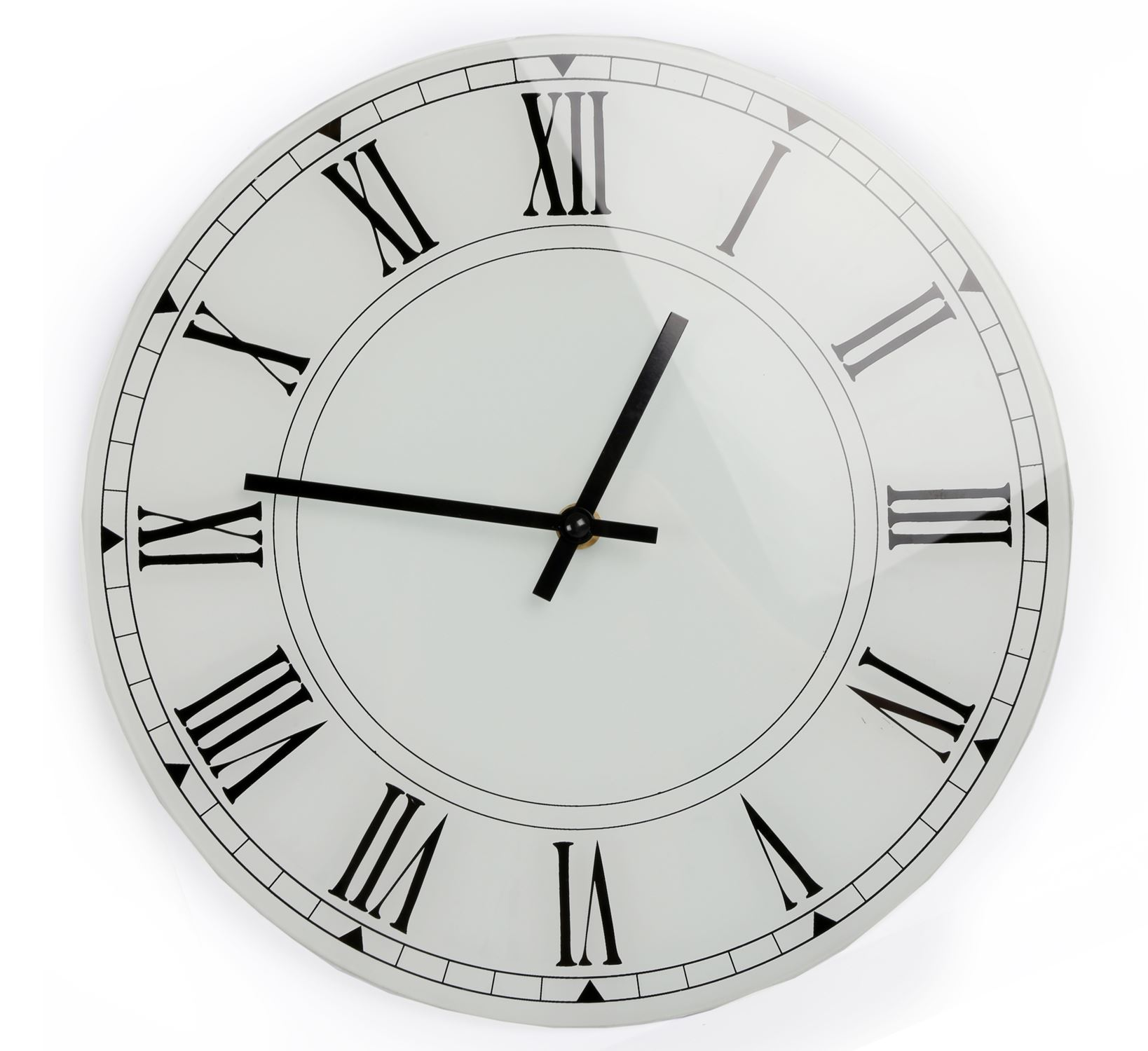Wall Clocks Glass White Glass Wall Clock 30cm 5024418103158 Ebay