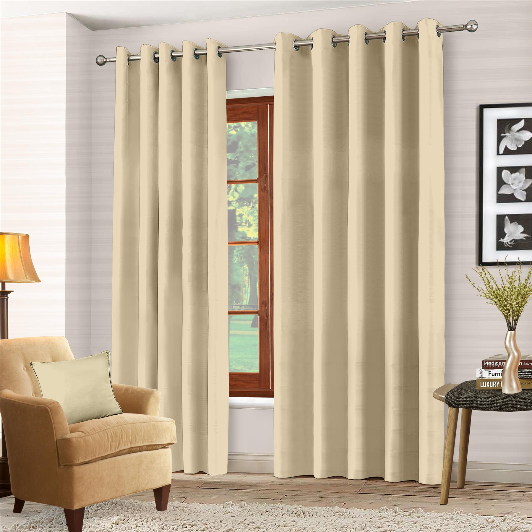 Luxury Thermal Blackout Eyelet Ring Top Curtains Pair With Tie Backs