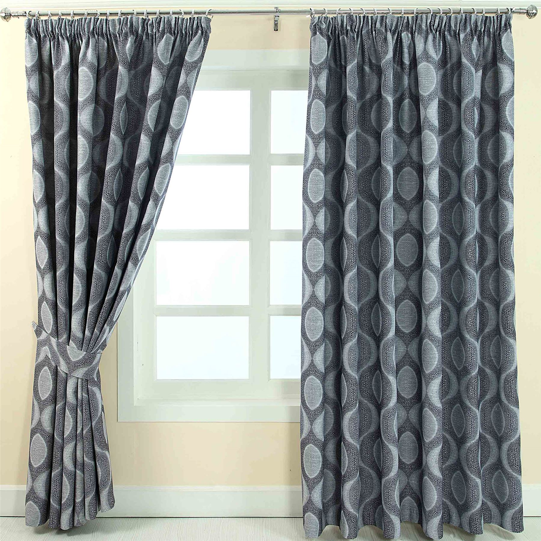 Grey Blue Curtains Pencil Pleat Fully Lined Ready Made Jacquard Curtains Blue
