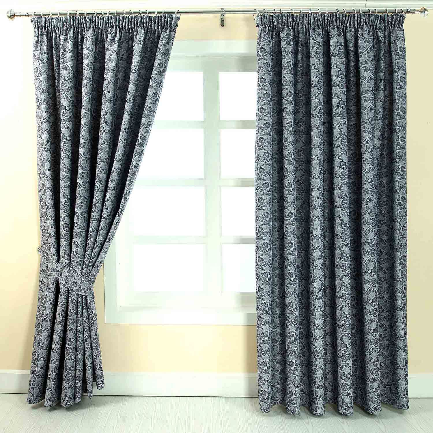 Grey Blue Curtains Pencil Pleat Jacquard Vintage Floral Curtains Fully Lined
