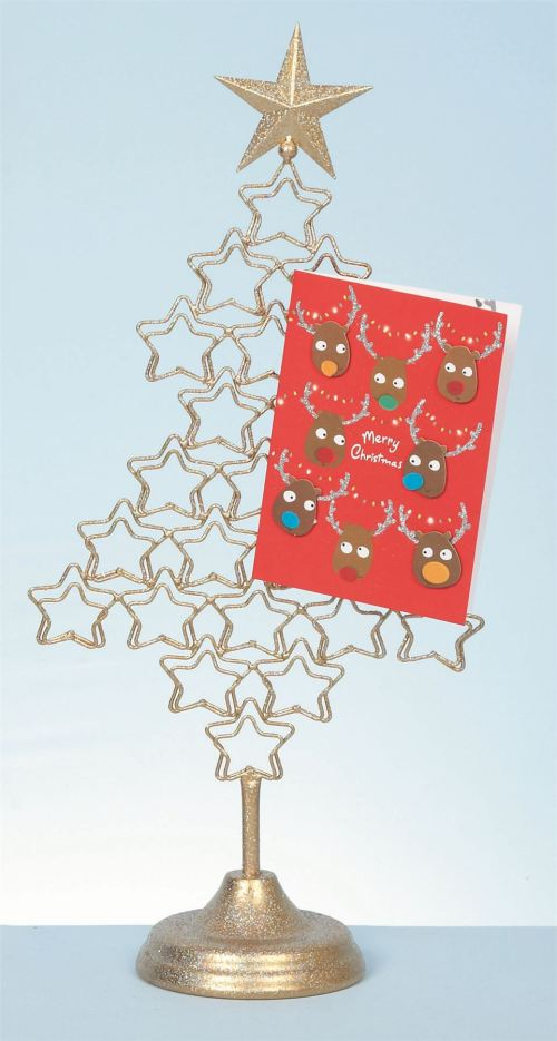 Pretentious Metal Tree Card Her Xmas Freestanding Display Card Her Door Card Her Stand