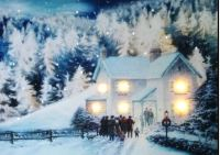 LED Light Up Hanging Canvas Pciture Xmas Christmas Scene ...