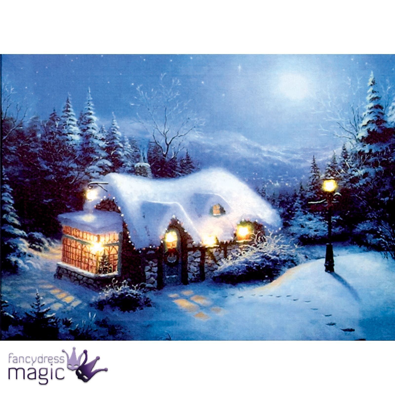 30cm 40 X 30cm Battery Operated Led Christmas Xmas Canvas Print