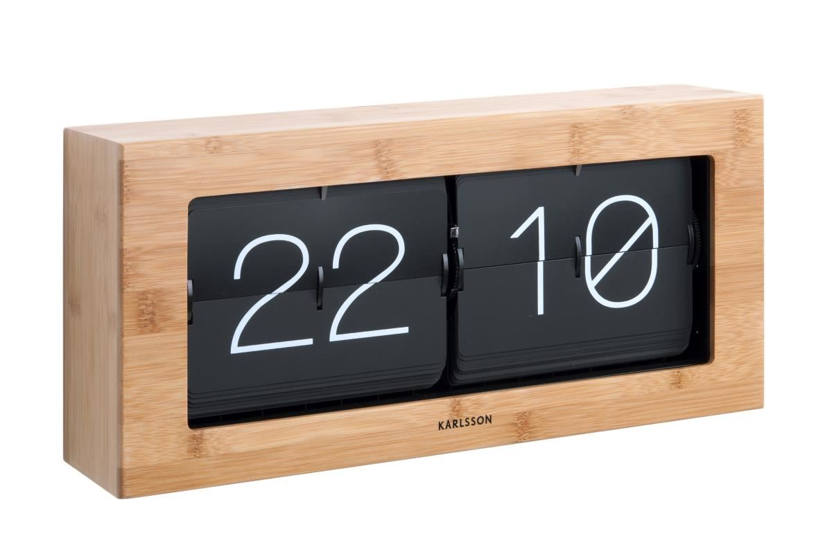 Big Flip Clock Karlsson Boxed Flip Clock Xl Bamboo Retro Large Wooden