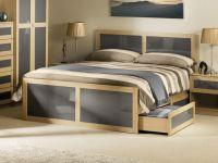 Happy Beds Strada Classic Bed Frame Light Oak and Grey ...