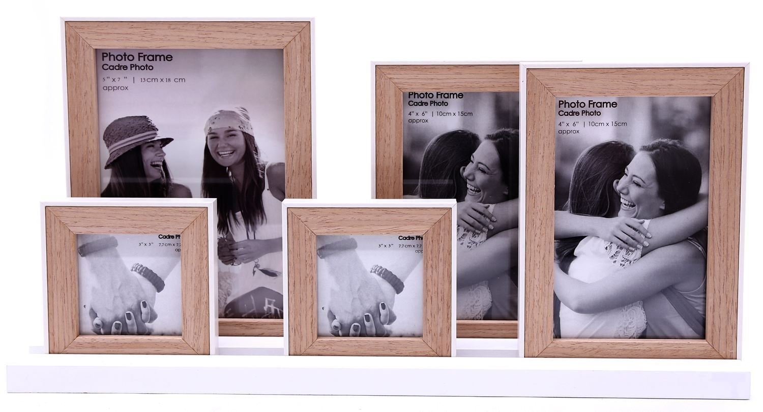 Cadre Photo Multiple Details About 5 Photo Frames On Tray Base White Multiple Natural Wooden Picture Decor Gift