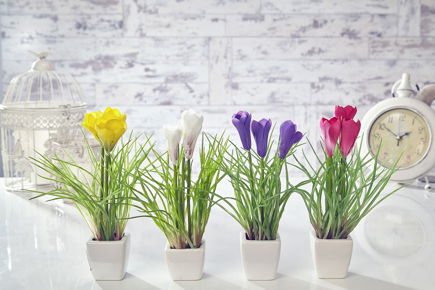Home Decor Plants Artificial Crocus Flowers Plants In Pot Home Decor Garden
