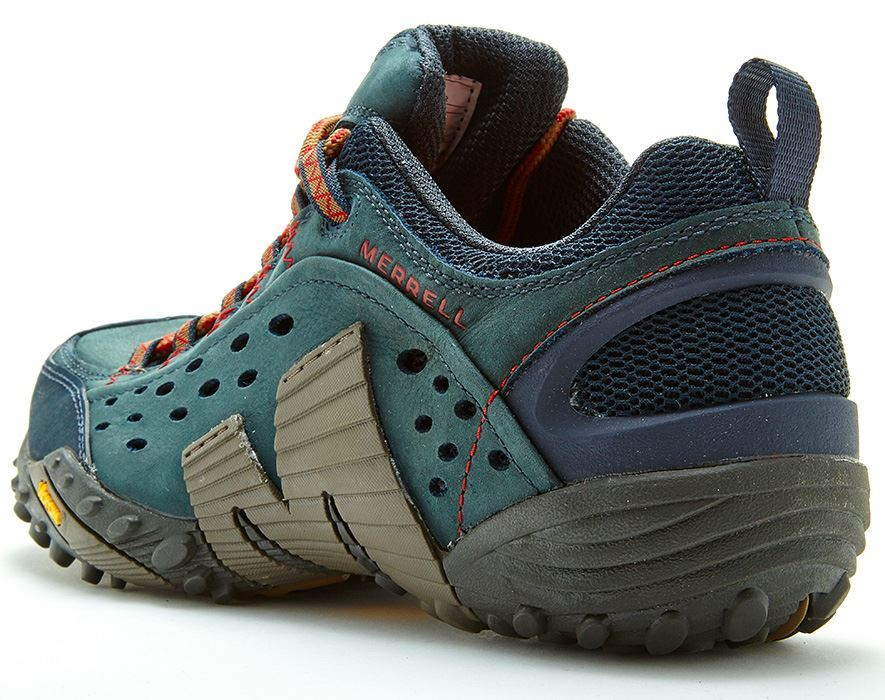 Merrell Intercept Hiking Shoes In Moth Brown Blue Wing