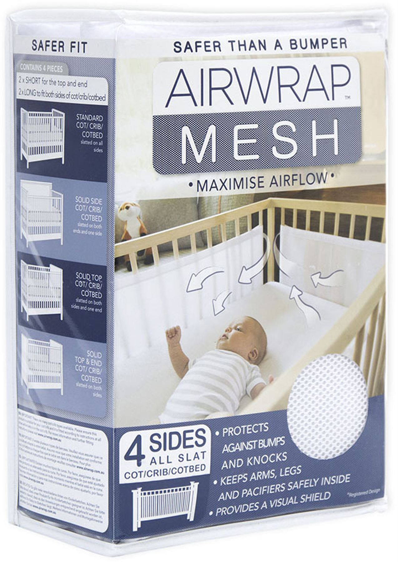 Airwrap Cot Bumper Details About Airwrap Mesh 4 Sided Cot Protector White Baby Cotbed Protection Safety