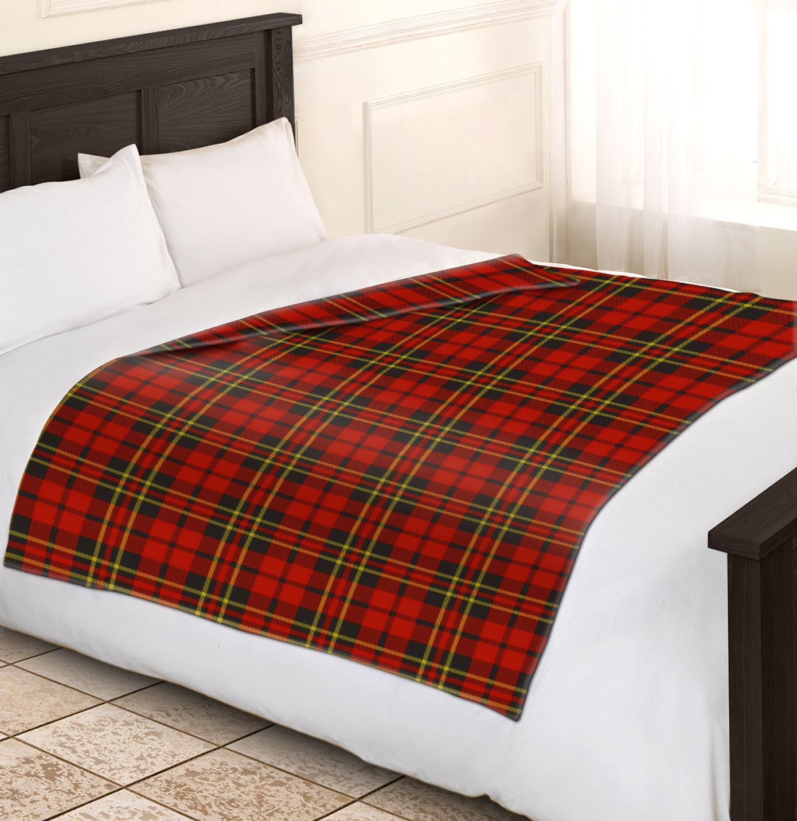 Soft Warm 120x150cm Single Tartan Check Sofa Throw Bed