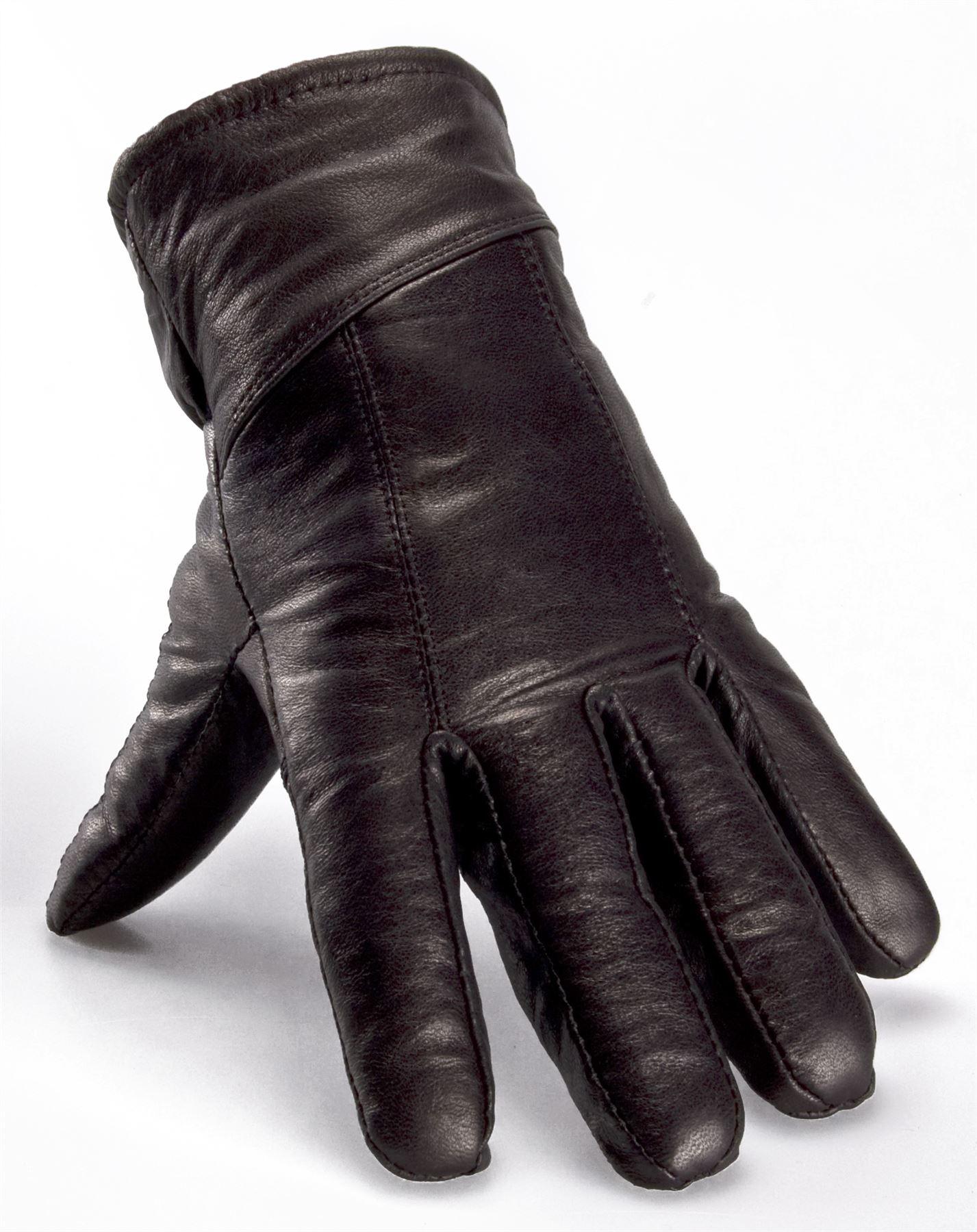 Nordvek mens sheepskin lined black real leather gloves