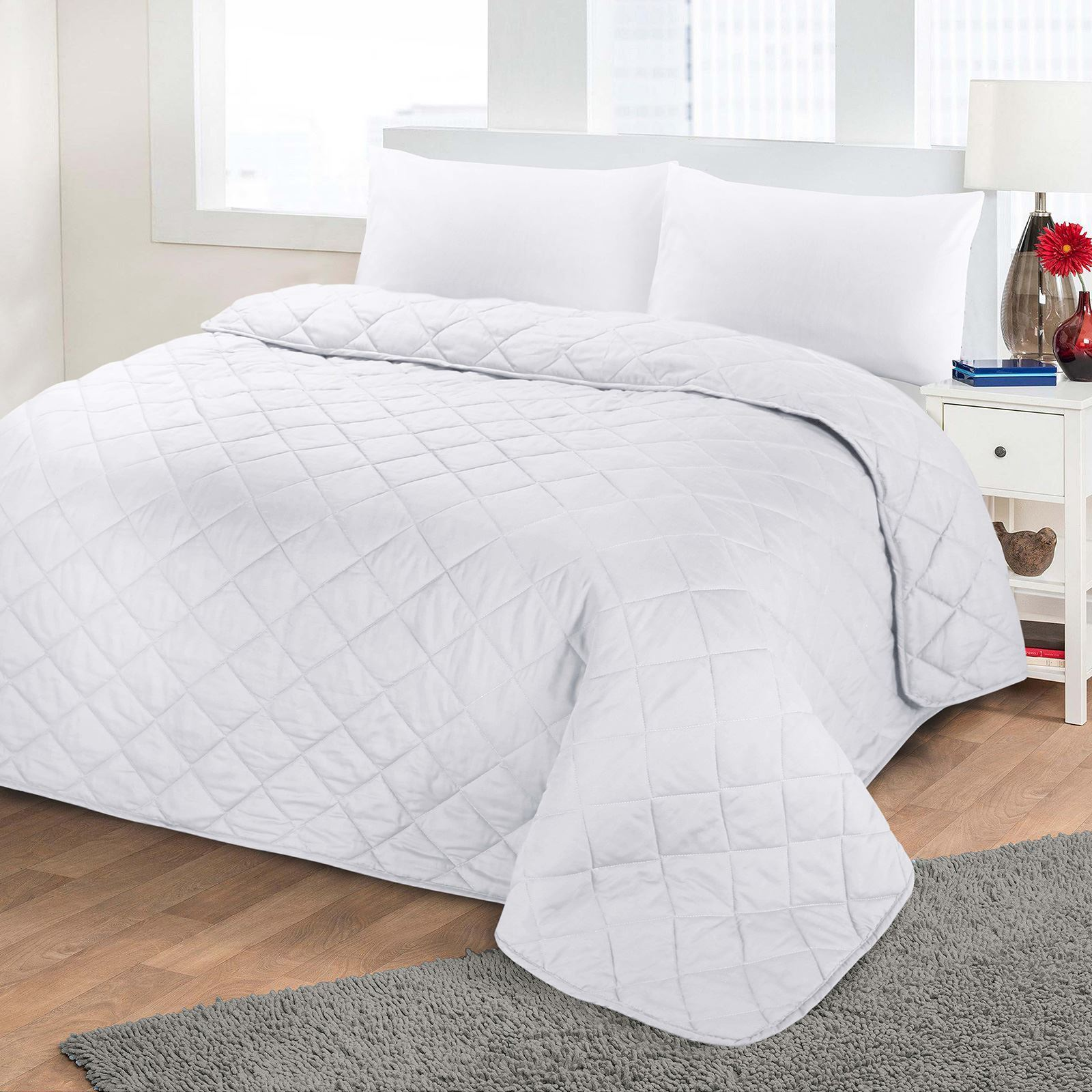Plain White Bedding Luxury Soft Plain Dyed Polycotton Quilted Bedspread Bed