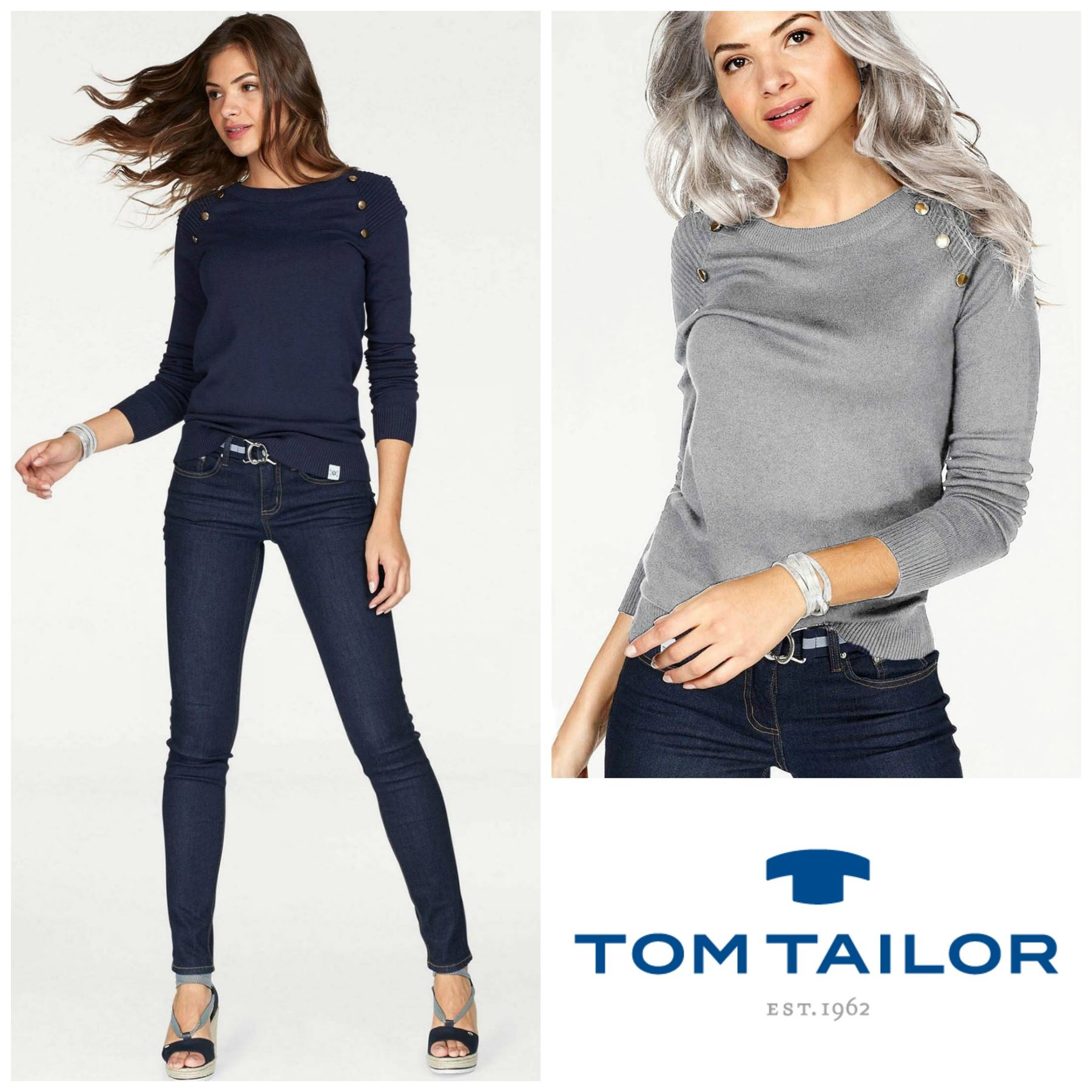 Tom Teiler Details About Ex Tom Tailor Womens Button Shoulder Crew Neck Jumper In Navy Ivory