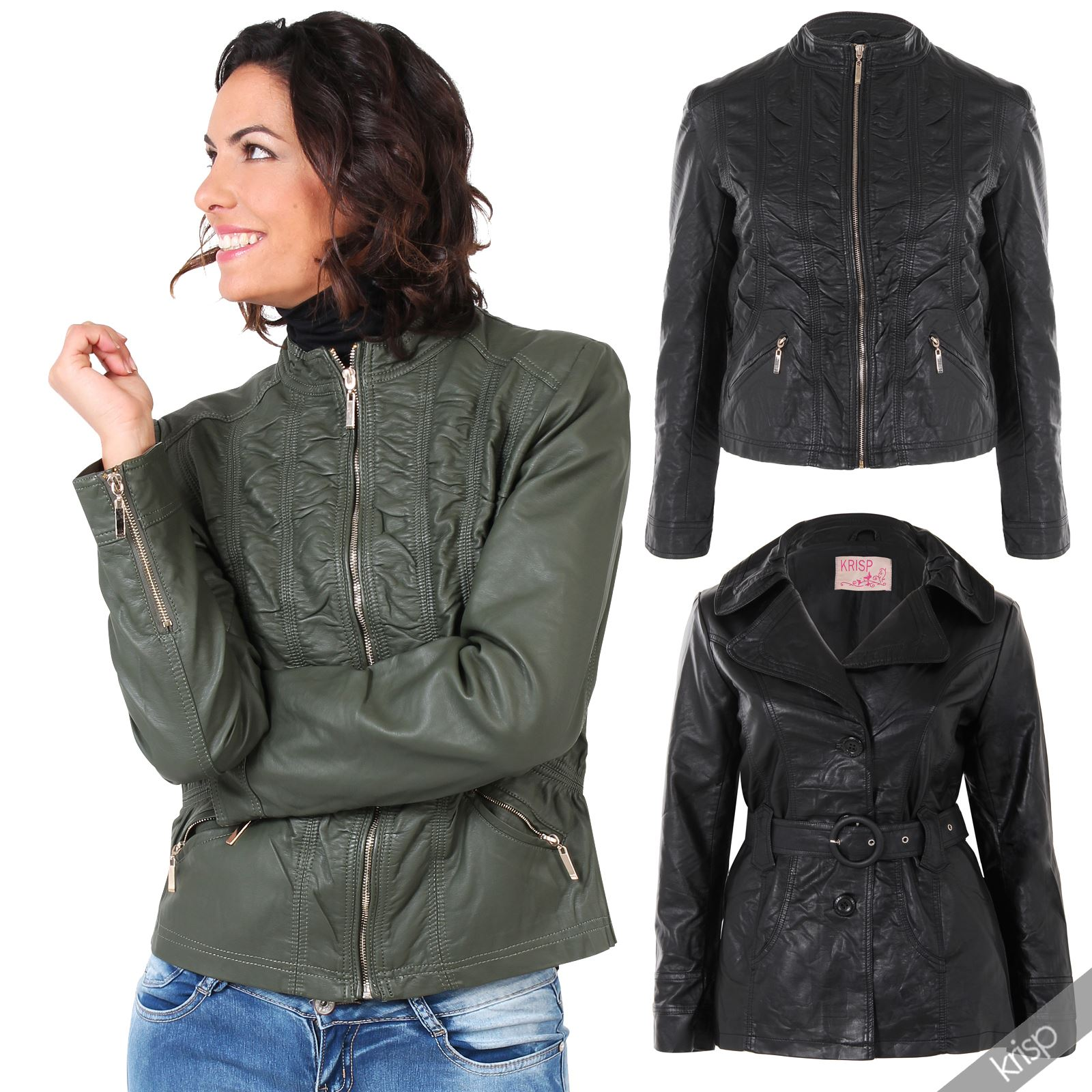 Womens soft pu leather belted collared mac jacket vintage coat plus size 18 24