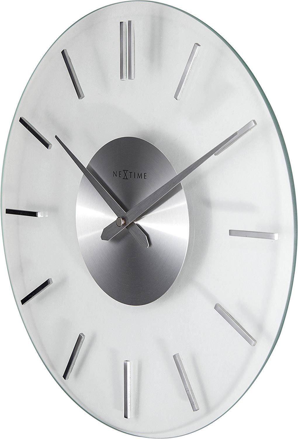 Wanduhr Glas Modern Nextime Lrage Forsted Glass Stripe Wall Clock With/without