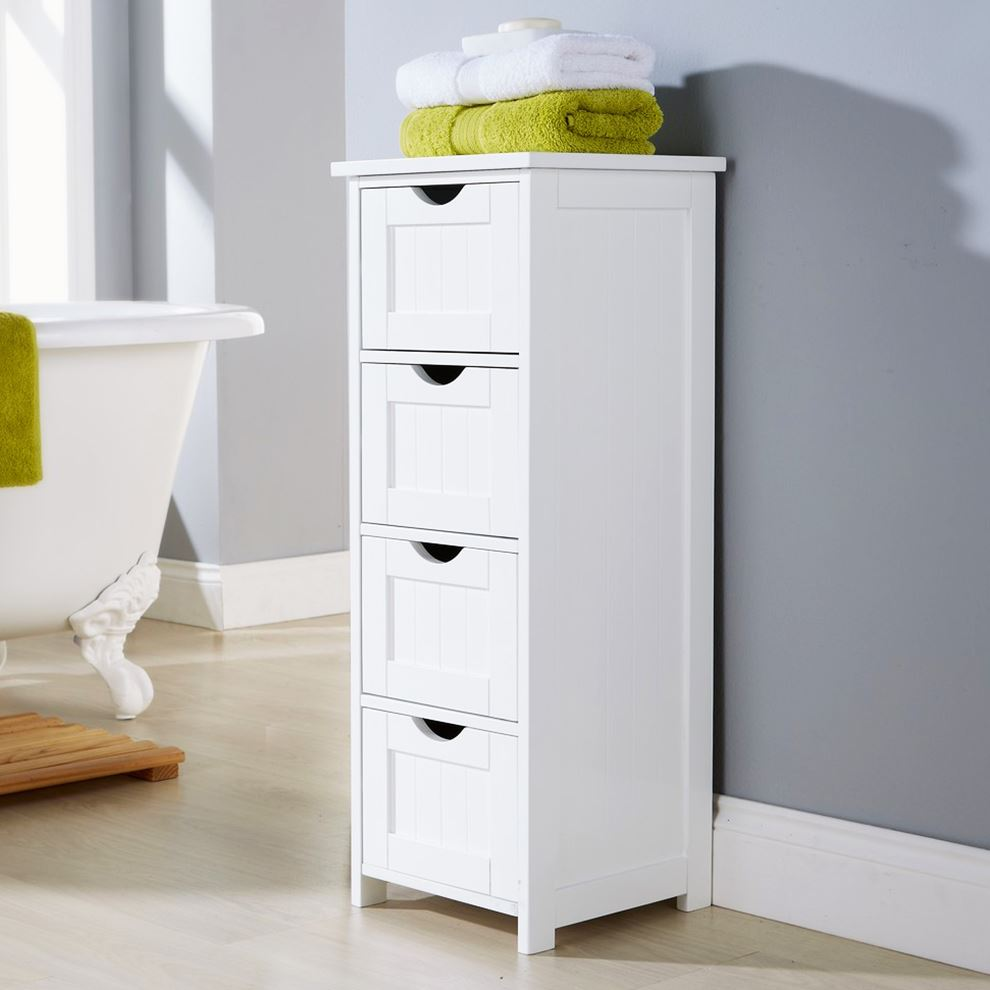 White multi use bathroom storage unit 4 drawer