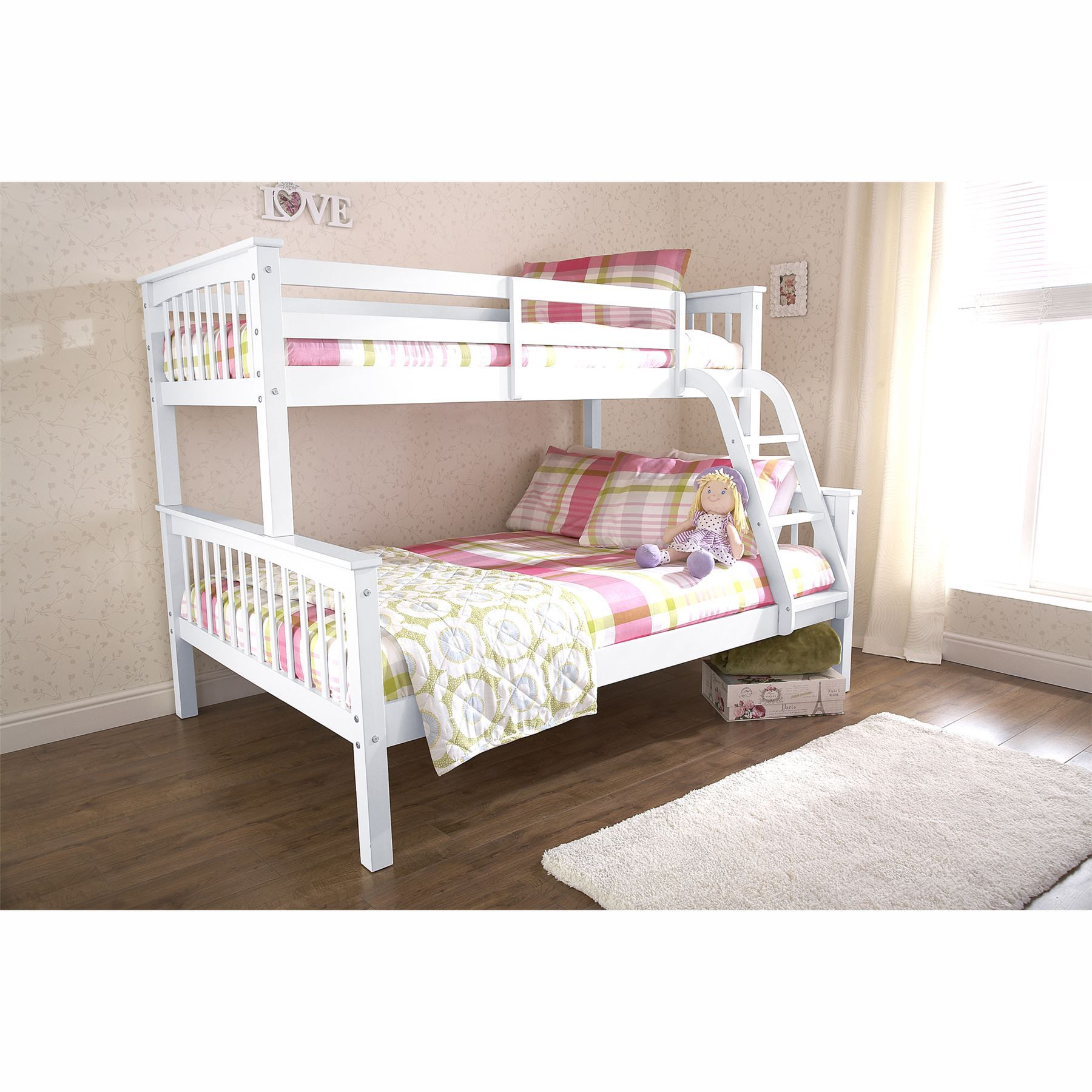 Single Beds For Kids Novaro Trio White Bunk Bed Frames 3ft Single 4ft6 Double