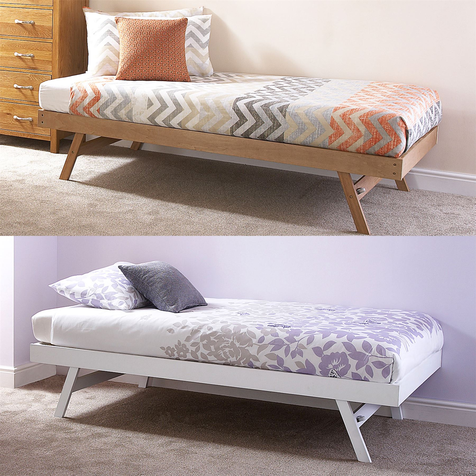 Single Day Bed Madrid Wooden 3ft Single Day Bed Frame & Trundle Guest