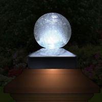 Solar Crackle Glass Ball Garden Post Deck Cap Light Square ...