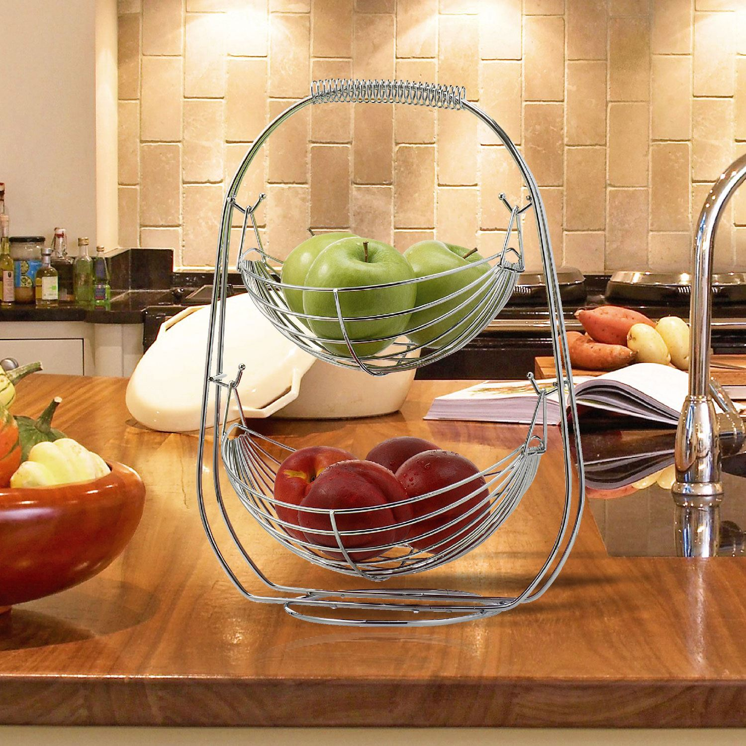 Table Top Fruit Basket Chrome 2 3 Tier Wire Fruit Vegetable Basket Hammock Bowl
