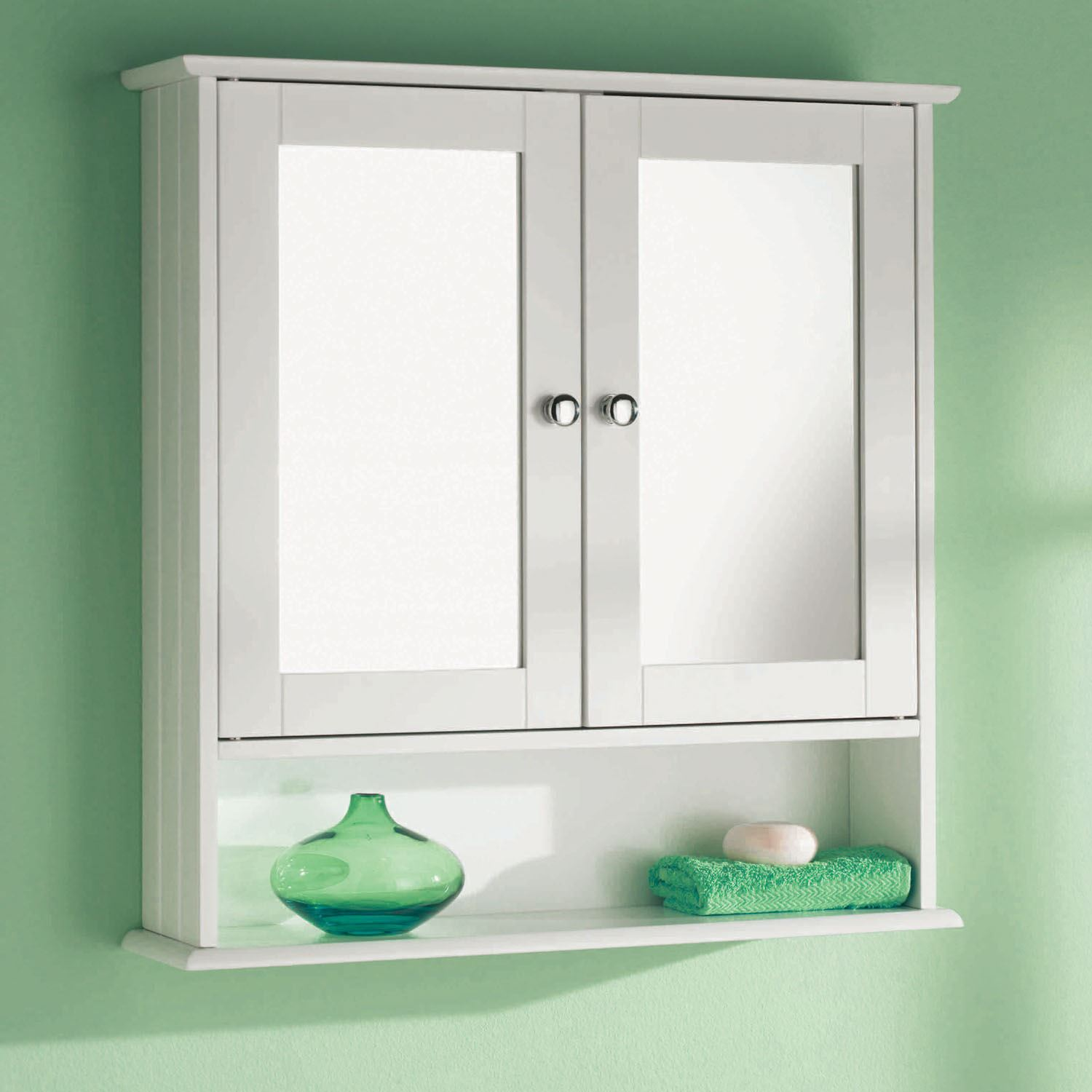 Mirrored Bathroom Cupboard White Wooden Double Mirror Door Indoor Wall Mountable