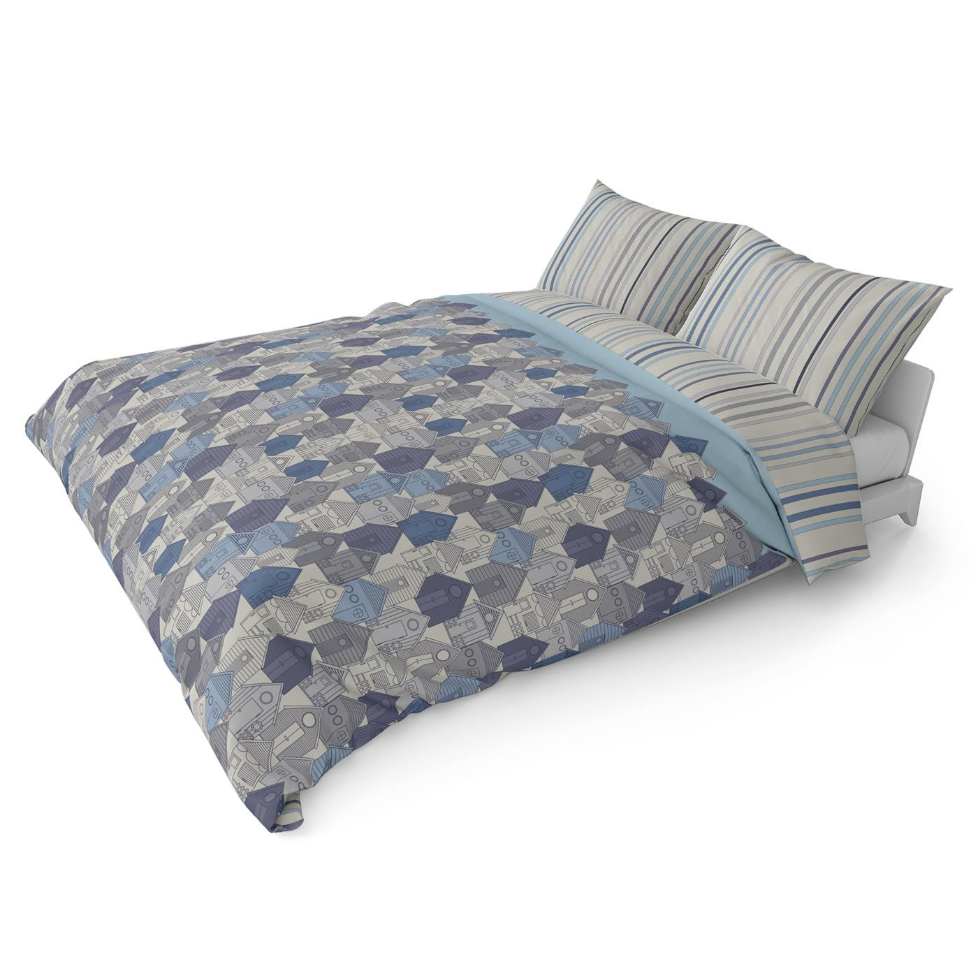 Teal Quilt Cover Blue Duvet Cover Navy Teal Printed Cotton Quilt Set