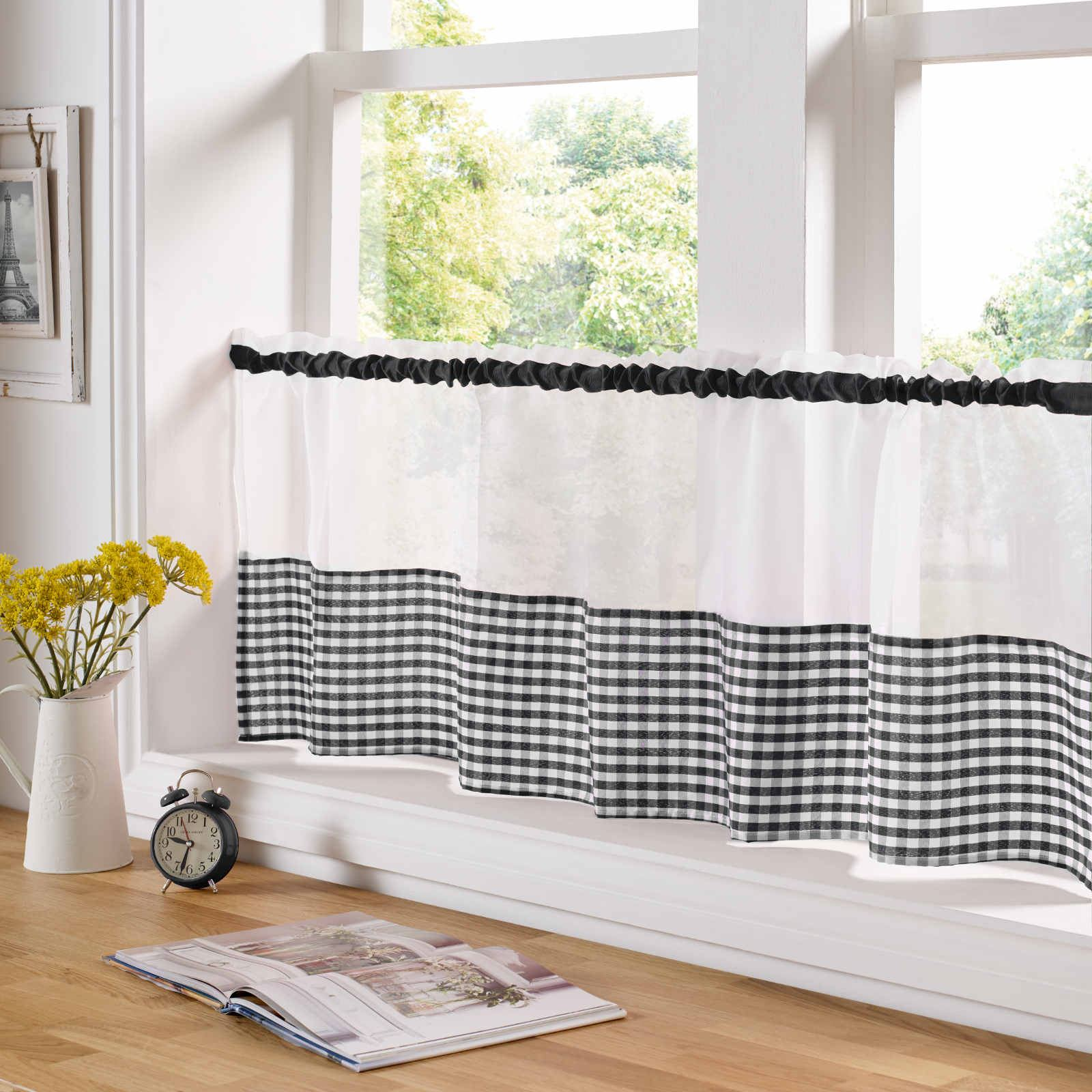 Kitchen Curtains For Yellow Walls Country Kitchen Gingham Curtain Pair Window Drapes Dining