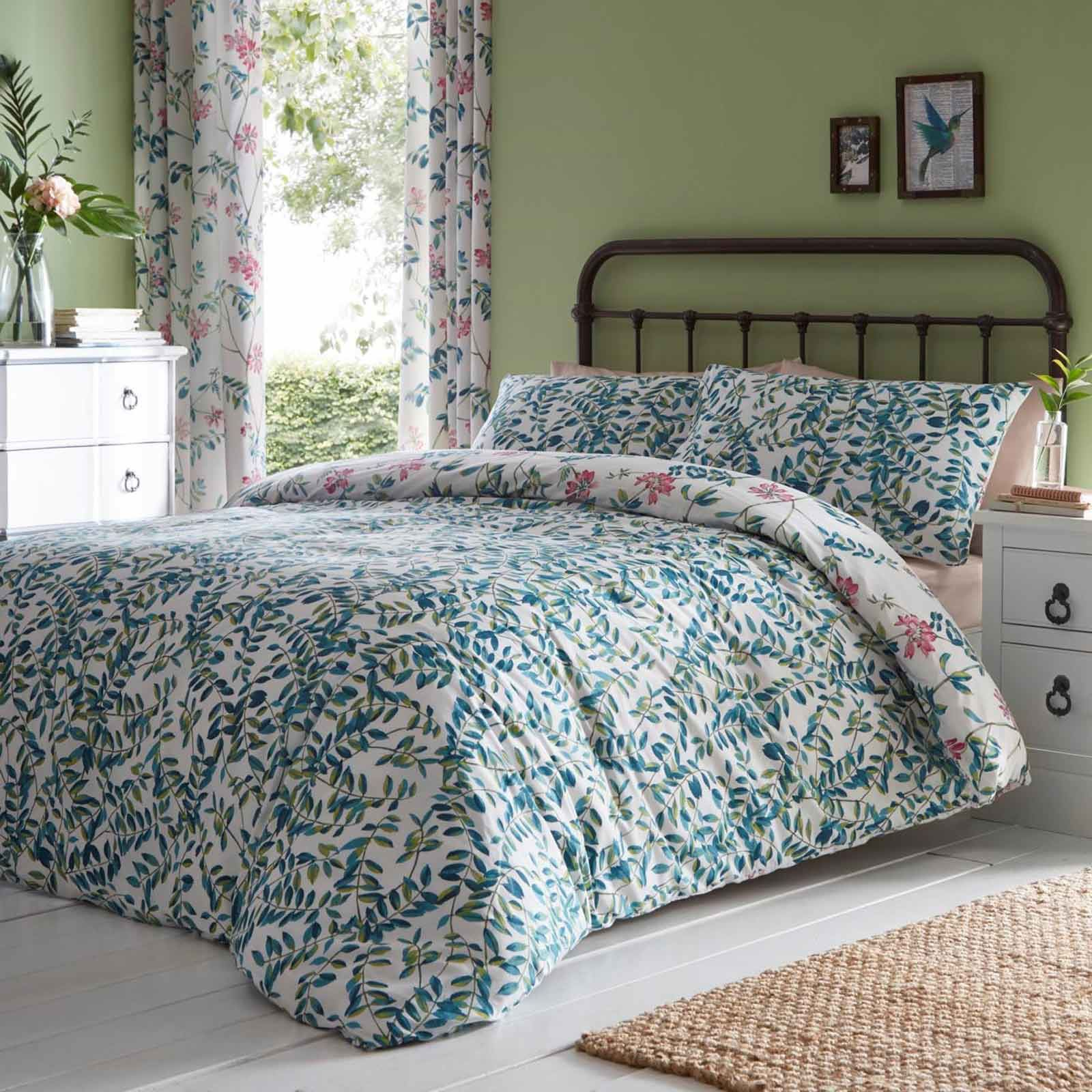 Teal Quilt Cover Teal Floral Duvet Covers Marldon Reversible Printed Easy