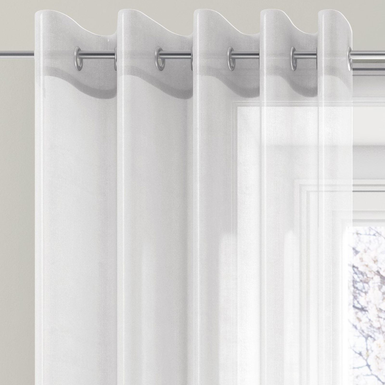 White Sheer Door Panel Curtains Ring Top Eyelet Voile Panel Ready Made Sheer Window Door