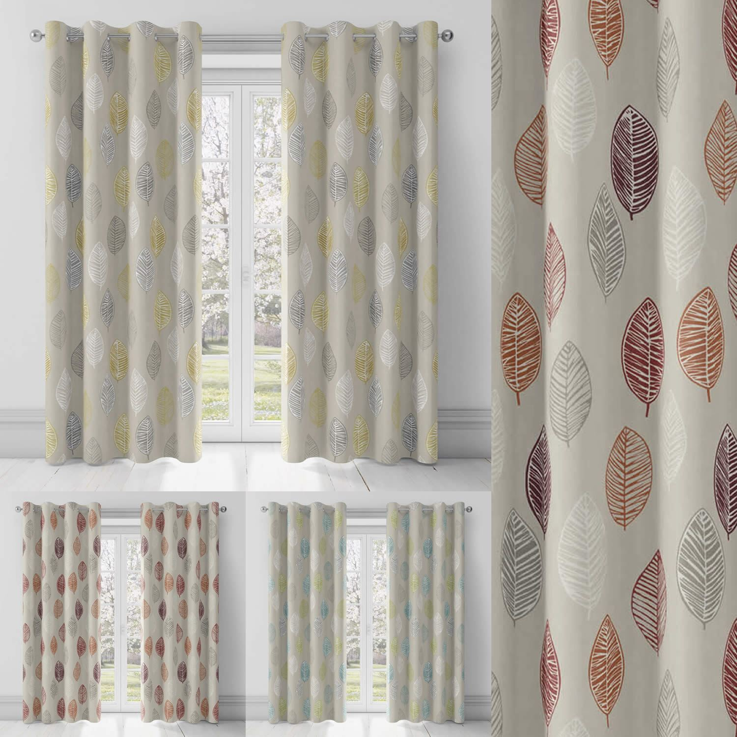 Scandinavian Ready Made Curtains Details About Skandi Leaf Lined Eyelet Curtains Geometric Leaf Print Ready Made Ring Top Pairs