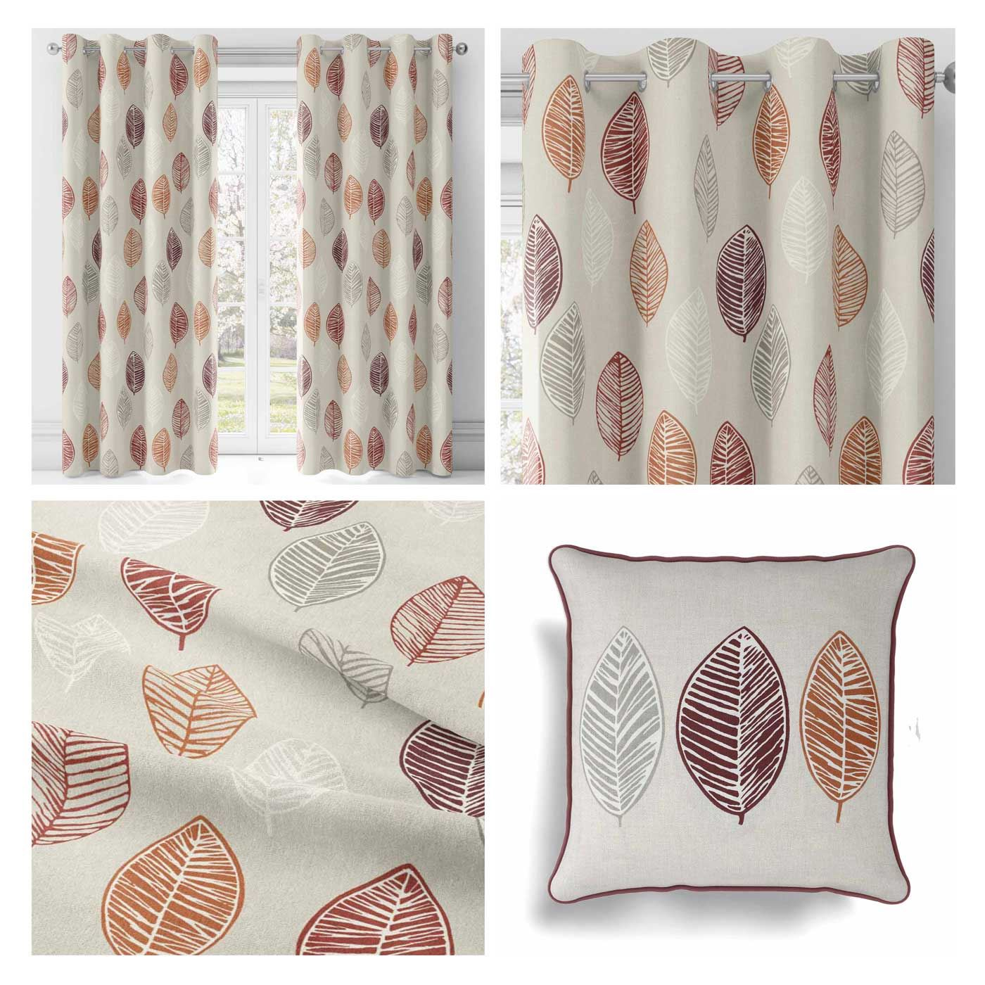 Scandinavian Ready Made Curtains Details About Spice Terracotta Leaf Lined Eyelet Curtains Ready Made Curtain Ring Top Pairs
