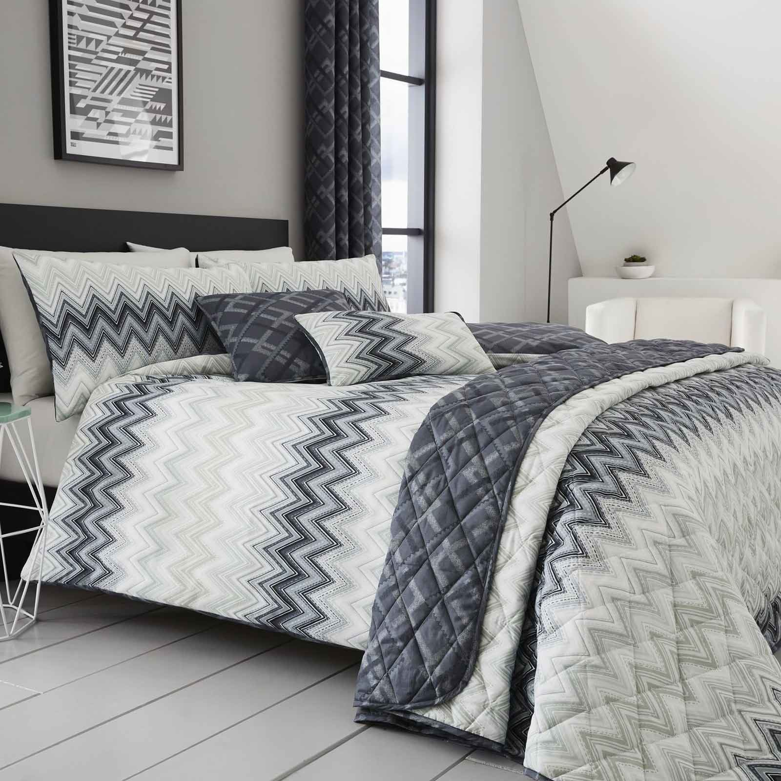 Charcoal Grey Bedding Ombre Luxury Duvet Covers Geometric Chevron Bedding