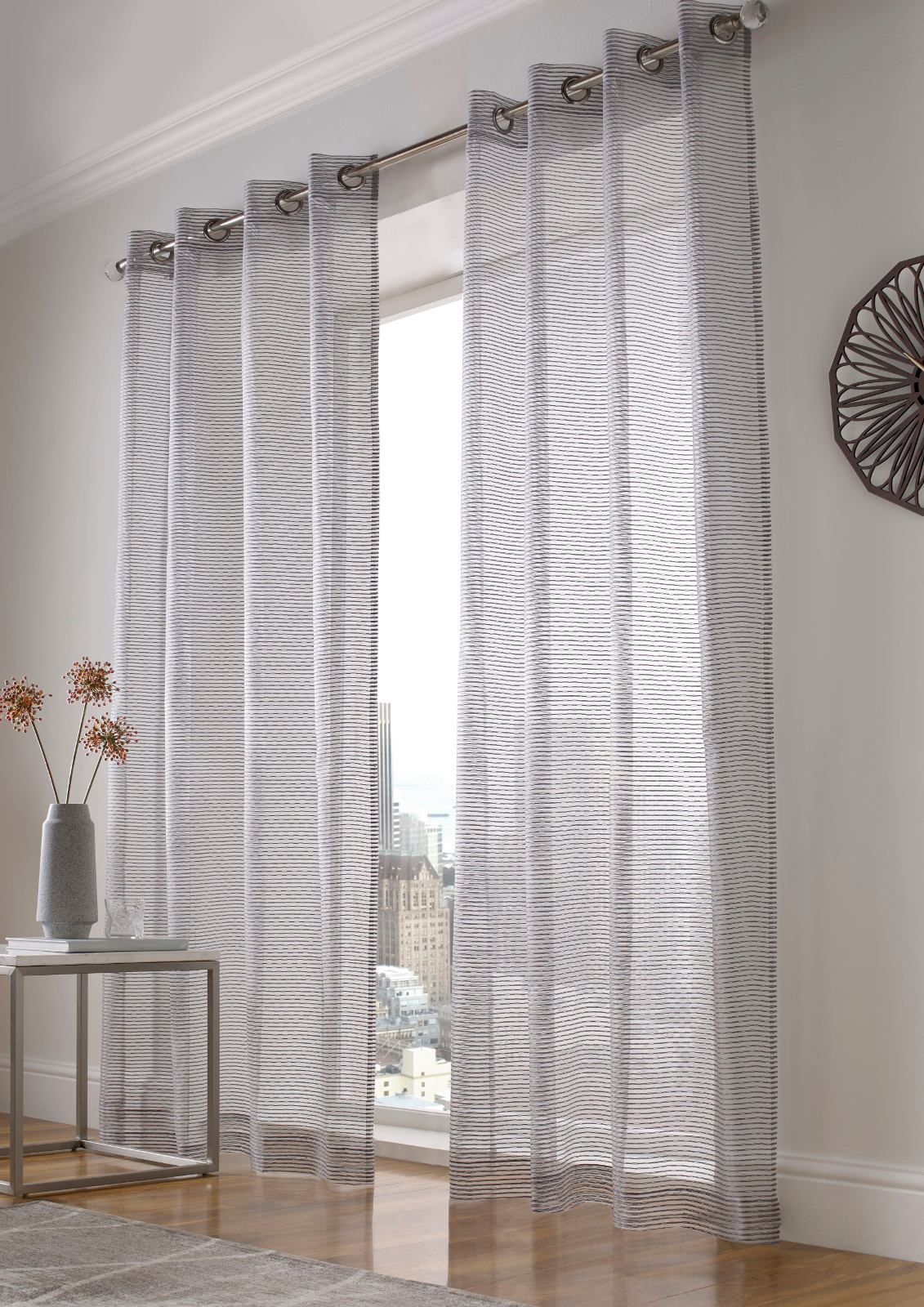 Voile Ombre Atlanta Sparkle Stripe Eyelet Voile Curtain Bling Ready