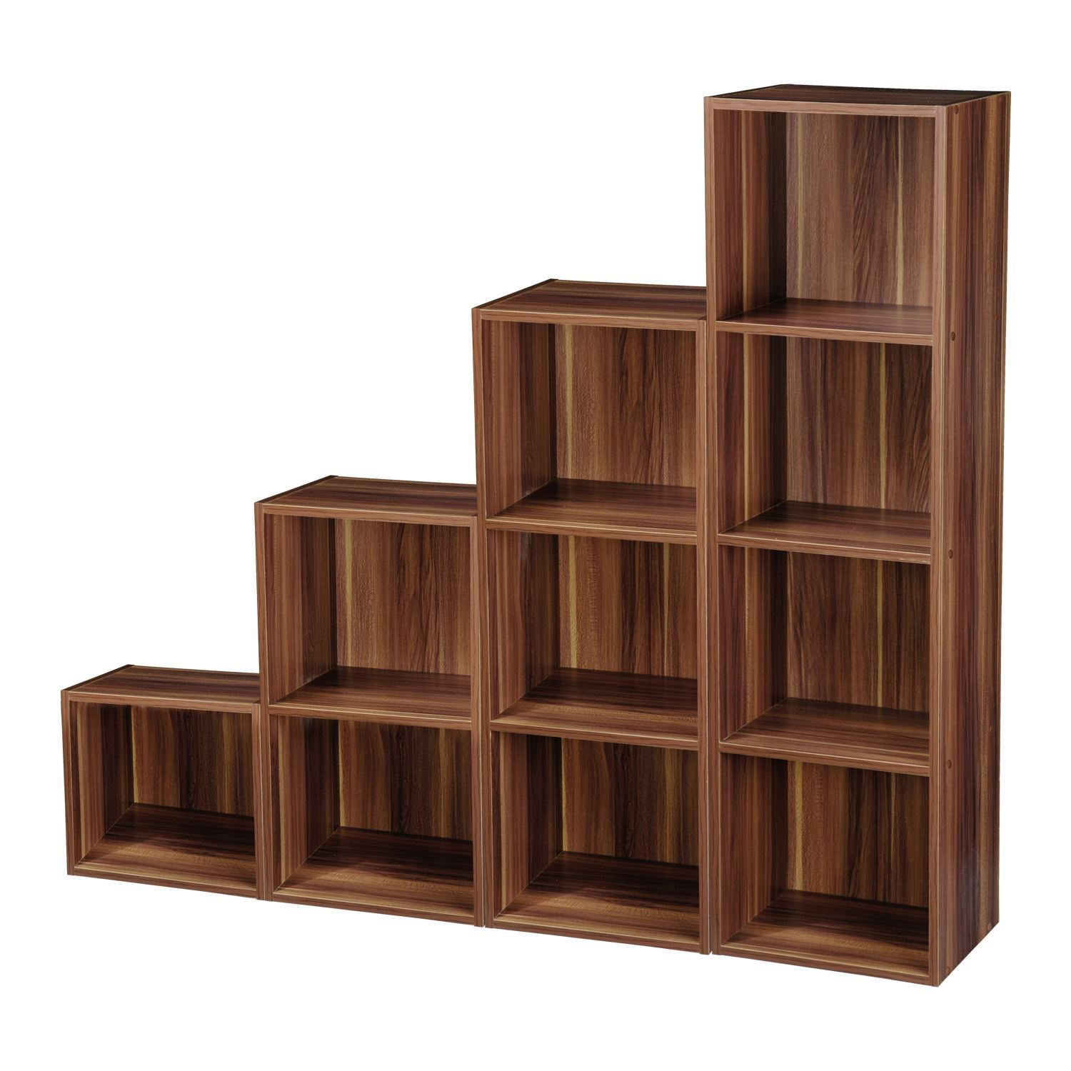 Cube Storage Shelves 2 4 Tier Wooden Bookcase Shelving Bookshelf Storage