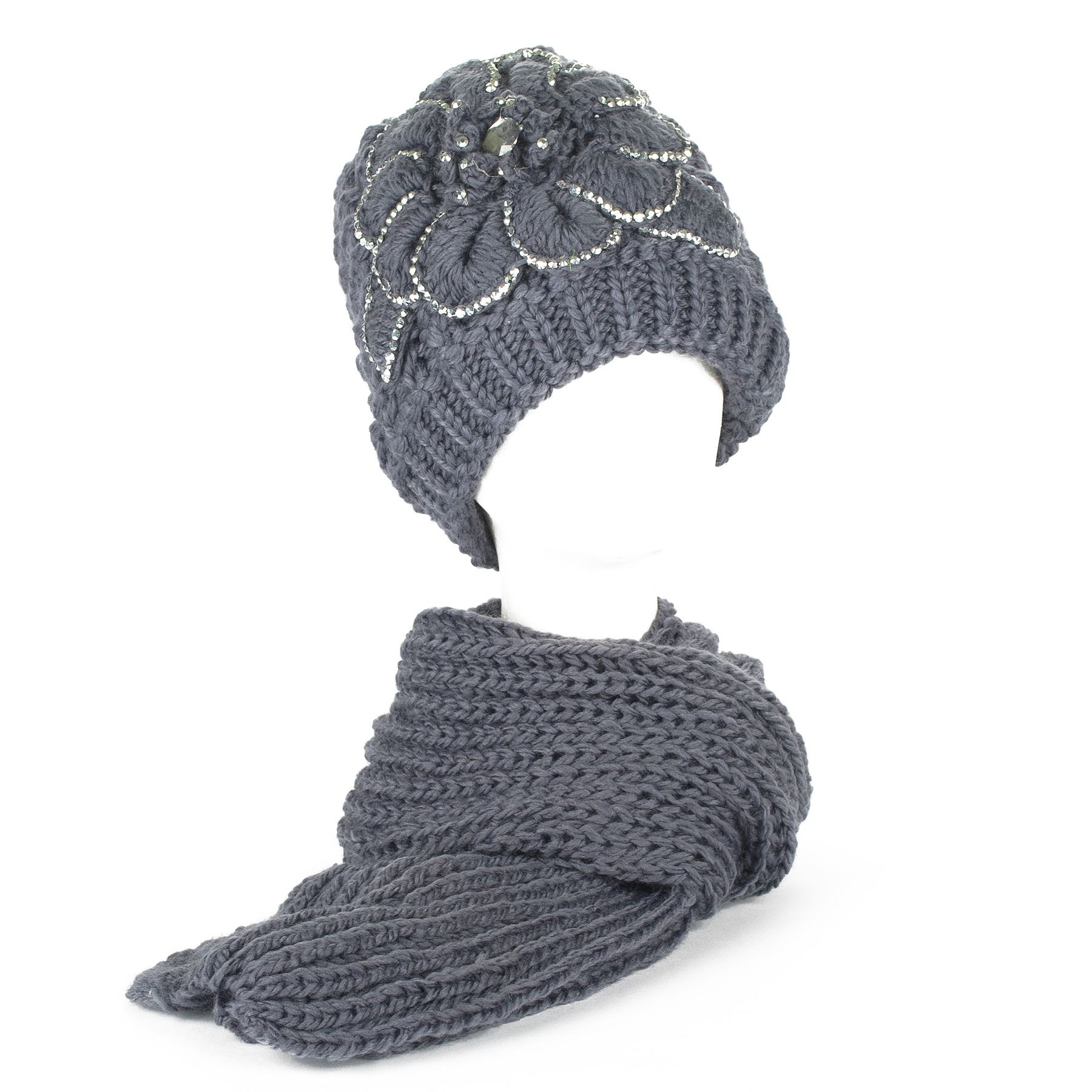 Ladies Winter Chunky Knit Beanie Hat with Fleece Lining