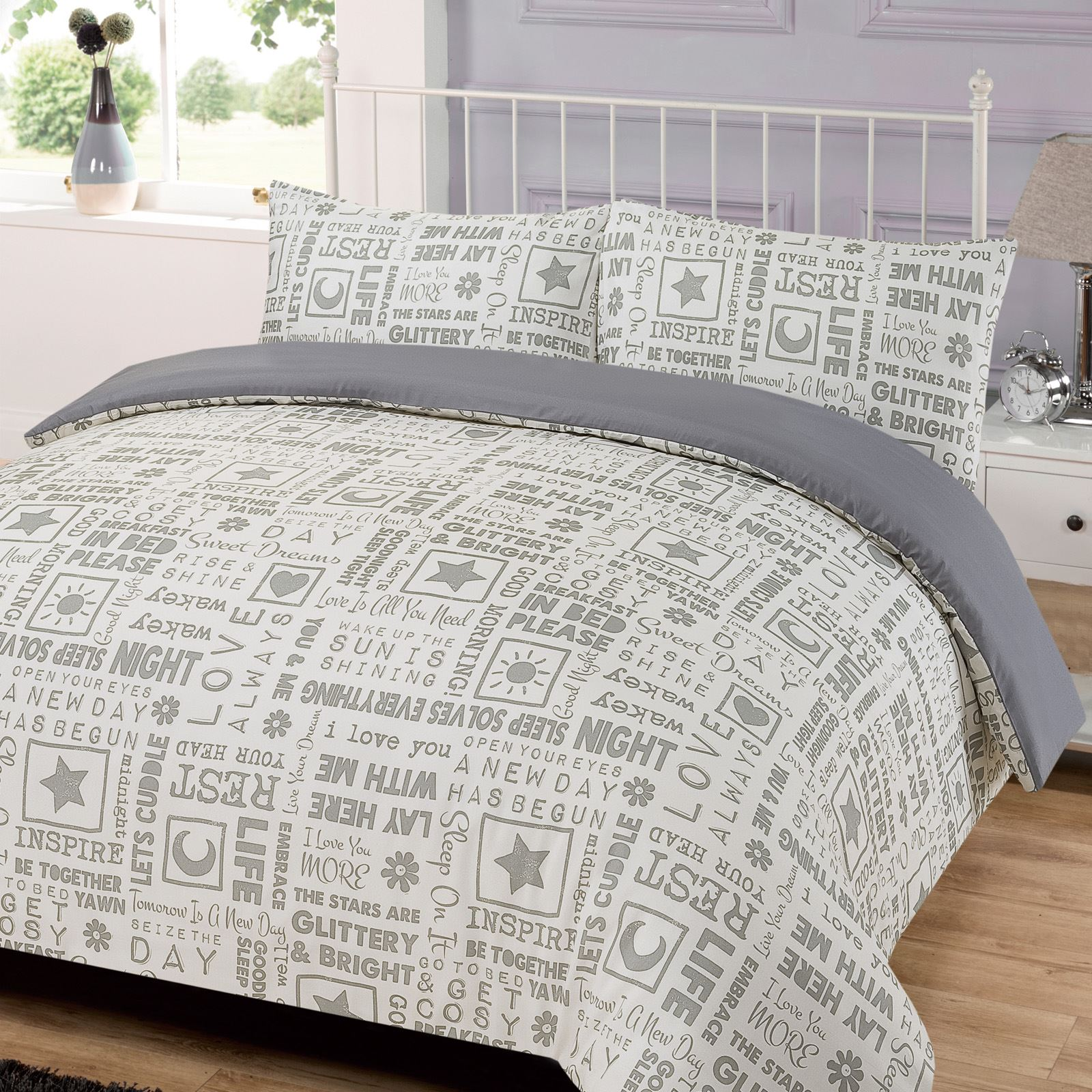White Duvet Cover King Letter Press Words Grey White Double Super King Duvet