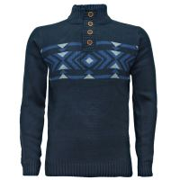Mens High Shawl Neck Knitted Jumper Aztec Texture Grandad ...