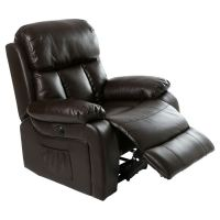 CHESTER ELECTRIC HEATED LEATHER MASSAGE RECLINER CHAIR ...